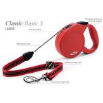Flexi Classic-3 - рулетка для собак до 50кг-5м; трос красная